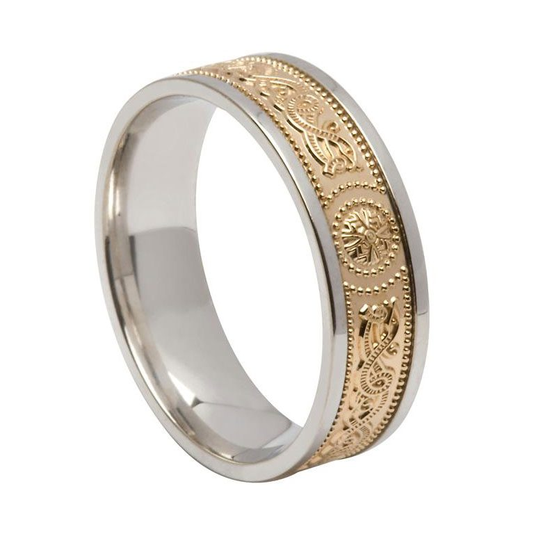 Mens Two Tone  White Gold or Silver and Yellow Gold Signature Celtic Shield Wedding Band