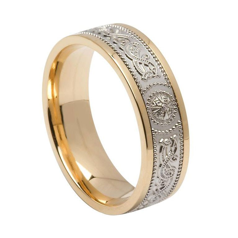 Mens Two Tone Yellow and White Gold Signature Celtic Shield Wedding Band