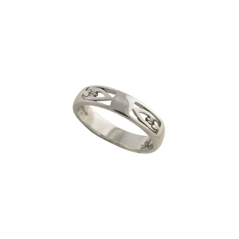 White Gold Gents Claddagh Wedding Ring