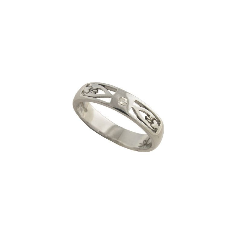 Ladies White Gold Claddagh Wedding Ring