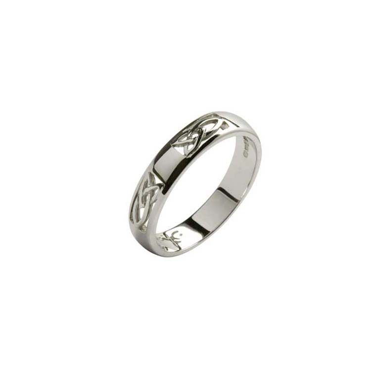 White Gold Gents Celtic Knot Wedding Ring