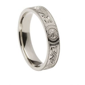 White Gold or Silver Ladies Celtic Shield Wedding Band