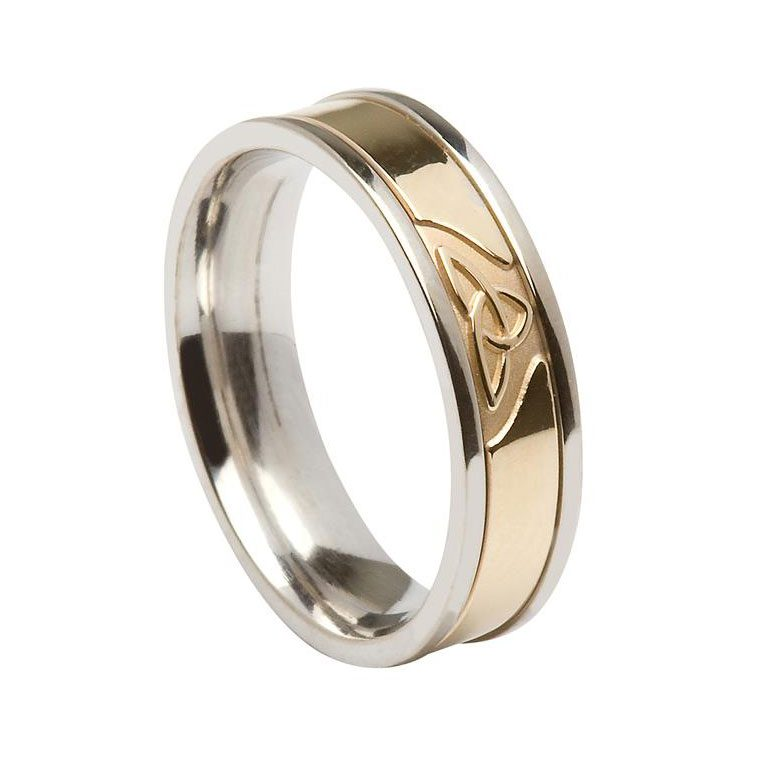 Gents Silver or White Gold Trinity Knot Wedding Ring