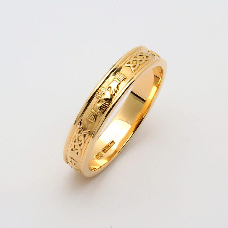 Gents Yellow Gold Claddagh & Celtic Wedding Band