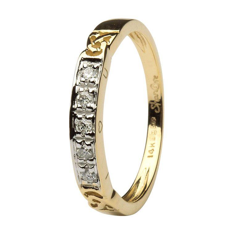 14k Yellow Gold Diamond Celtic Trinity Knot Ring