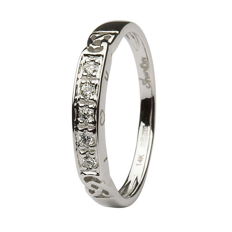 14k White Gold Diamond Celtic Trinity Knot Ring