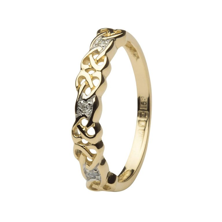 14k Yellow Gold Diamond Set Gold Celtic Ring