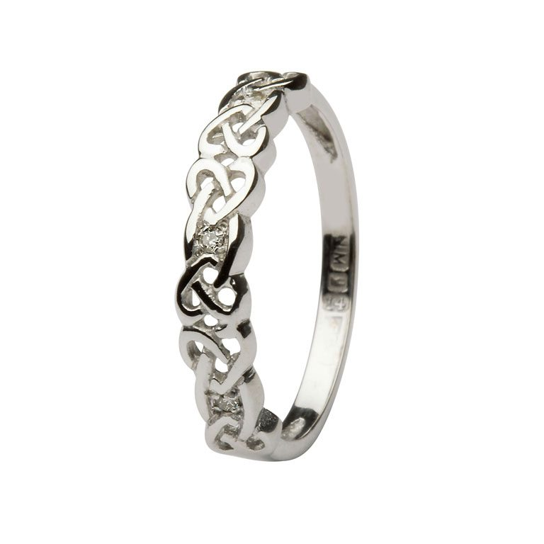 14k White Gold Diamond Set Gold Celtic Ring