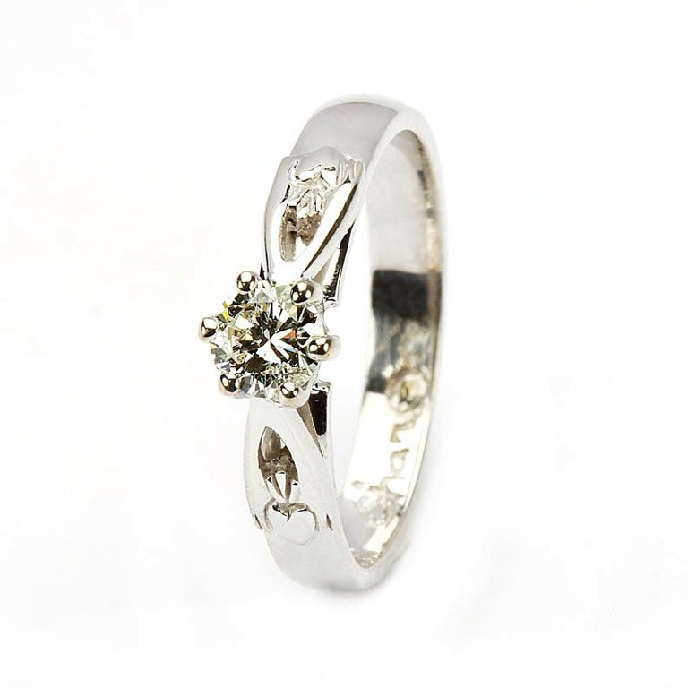 14 Karat White Diamond Set Claddagh Ring