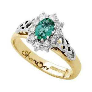 Yellow Gold Emerald and Diamond Cluster Celtic Ring