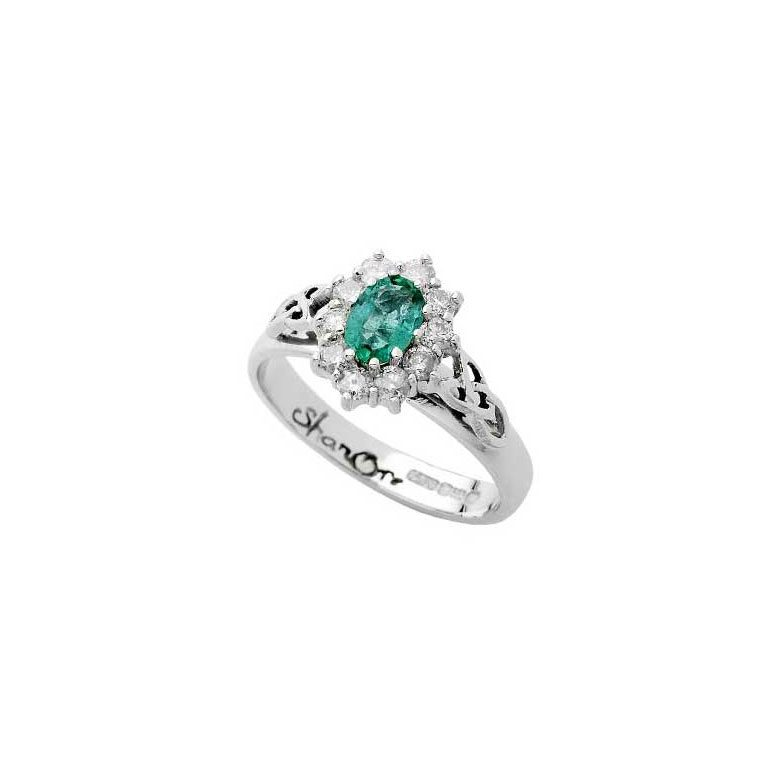 White Gold Emerald and Diamond Cluster Celtic Ring