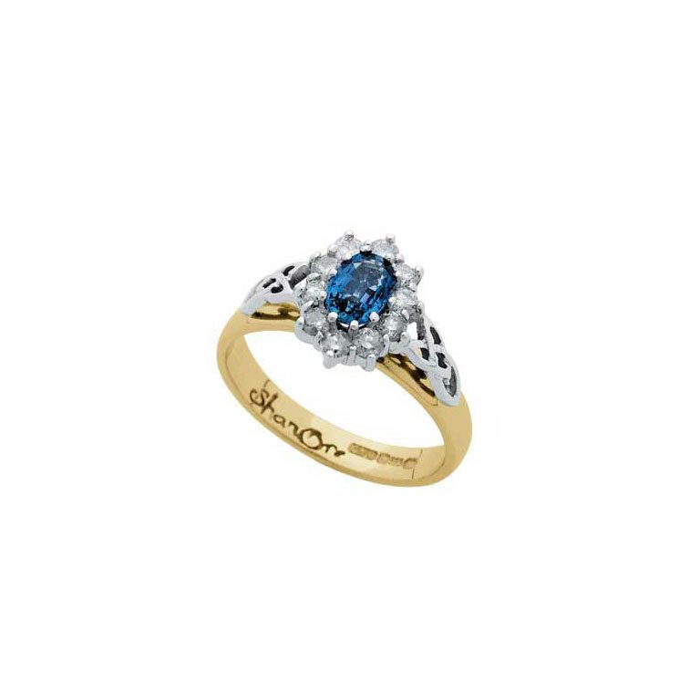 Yellow Gold Sapphire and Diamond Cluster Celtic Ring
