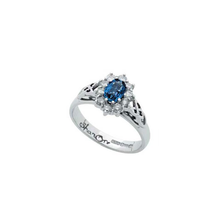 White Gold Sapphire and Diamond Cluster Celtic Ring
