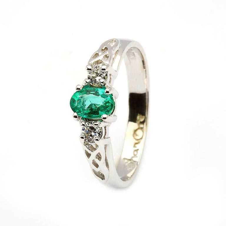 14k White Emerald and Diamond Celtic Engagement Ring