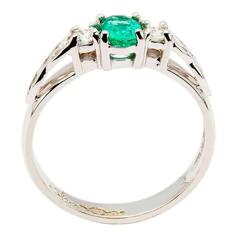 14k White Emerald and Diamond Celtic Engagement Ring - Side View