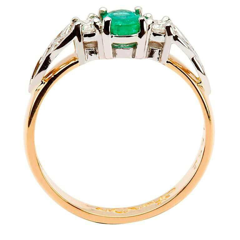 14k Yellow Emerald and Diamond Celtic Engagement Ring - Side View