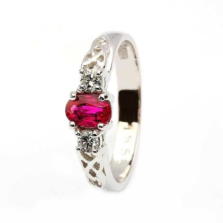 14k White Gold Ruby and Diamond Celtic Engagement Ring