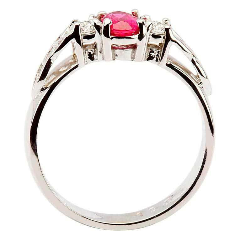 14k White Gold Ruby and Diamond Celtic Engagement Ring - Side View