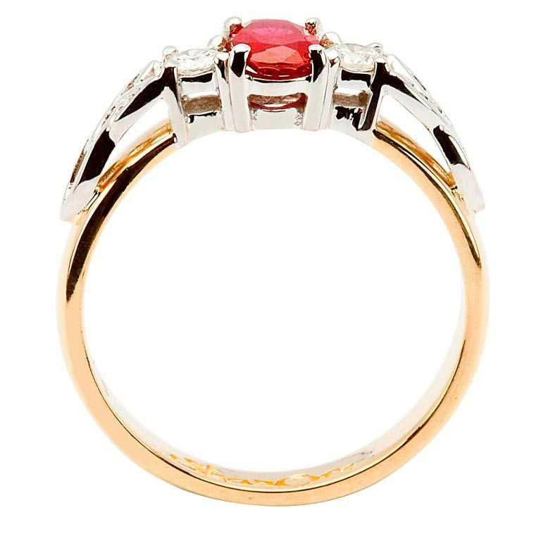 14k Yellow Gold Ruby and Diamond Celtic Engagement Ring - Side View