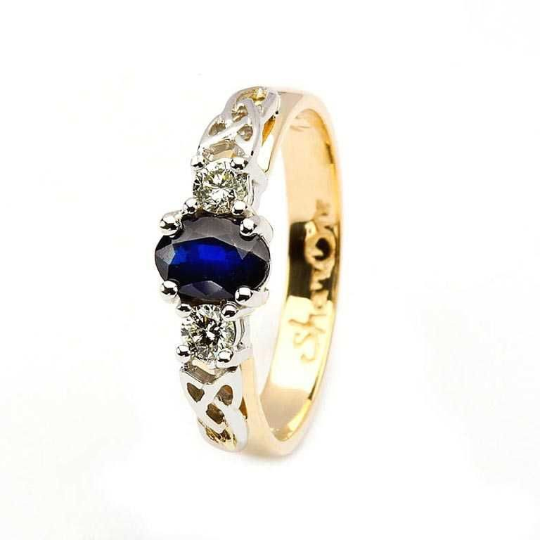 14k Yellow Gold Sapphire and Diamond Celtic Engagement Ring