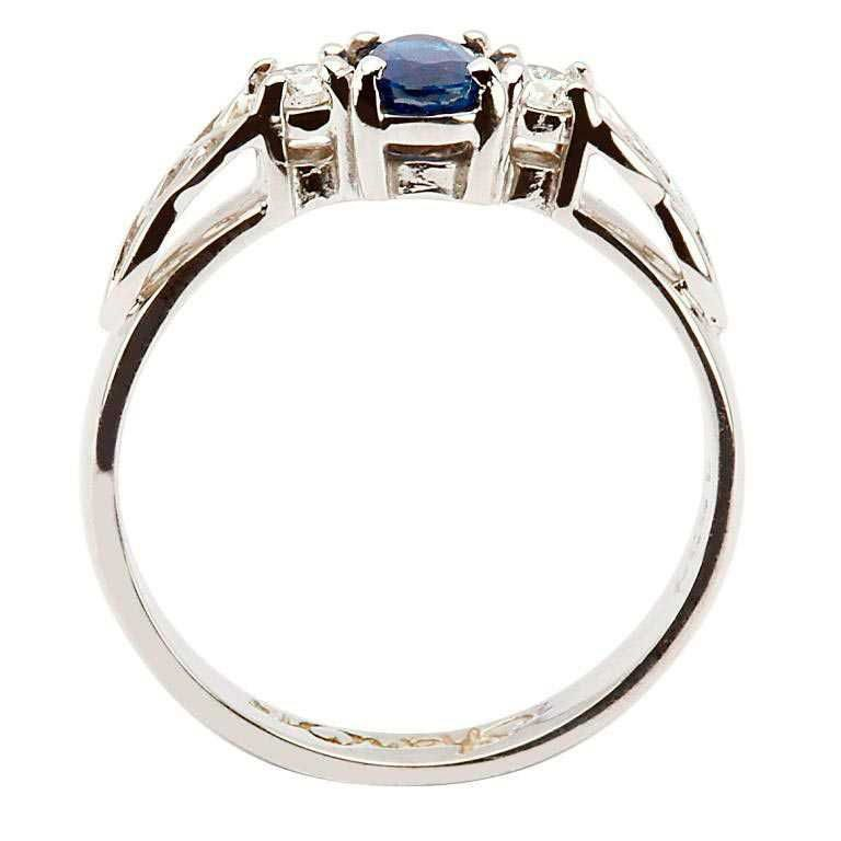 14k Sapphire White Gold and Diamond Celtic Engagement Ring - Side View