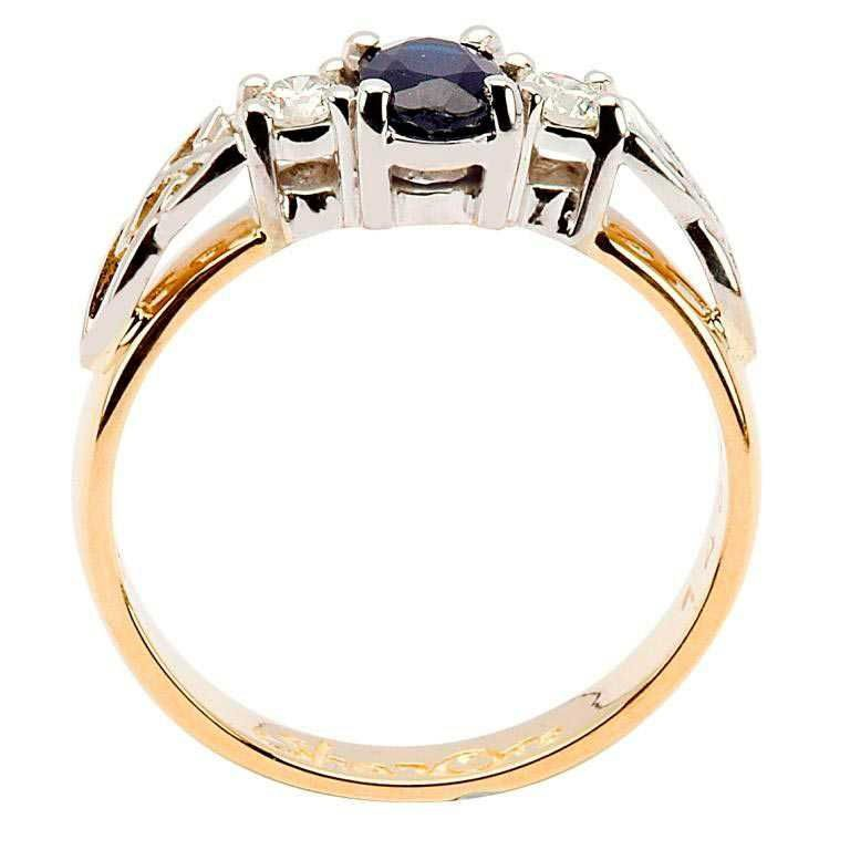 14k Yellow Gold Sapphire and Diamond Celtic Engagement Ring - Side View
