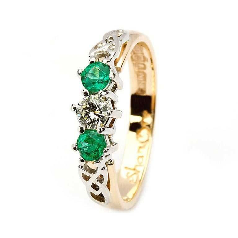 14 KaratYellow Diamond & Emerald Set Celtic Ring