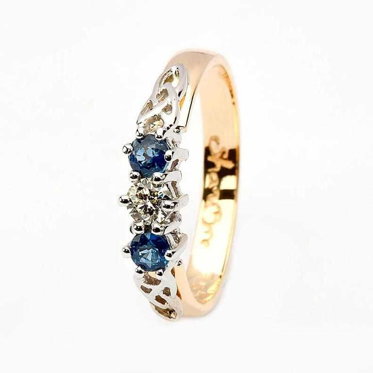 14 Karat Yellow Diamond & Sapphire Set Celtic Ring
