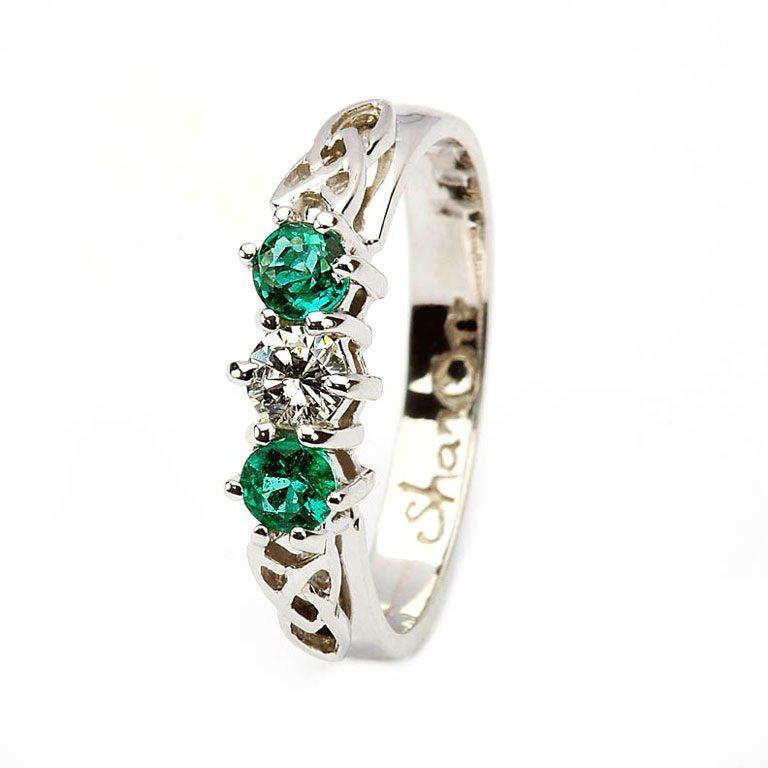 14 Karat White Diamond & Emerald Set Celtic Ring