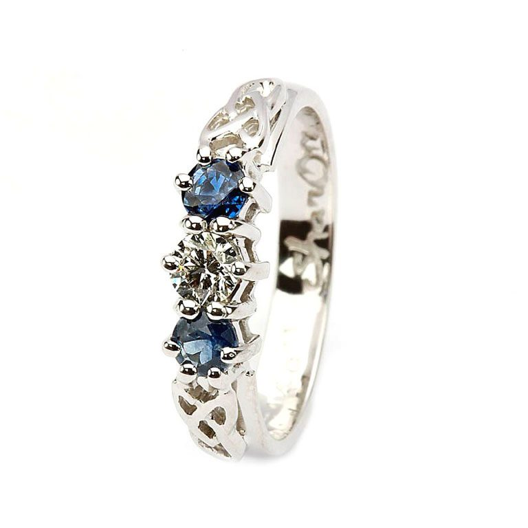 14 Karat White Diamond & Sapphire Set Celtic Ring