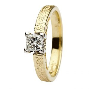 14k Yellow Gold Princess Cut Diamond Trinity Knot Ring