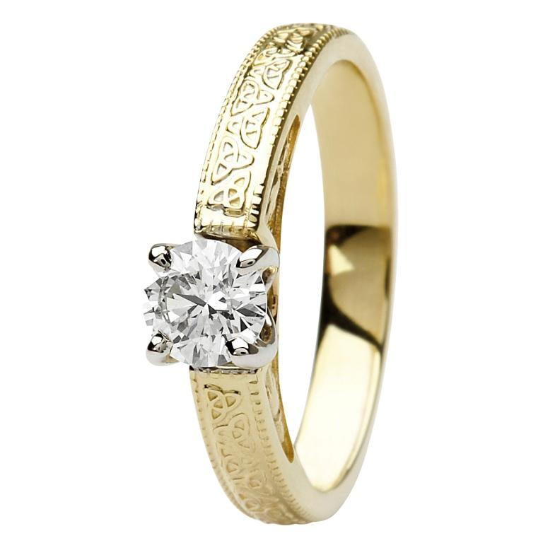 14k Yellow Gold Diamond Trinity Knot Ring