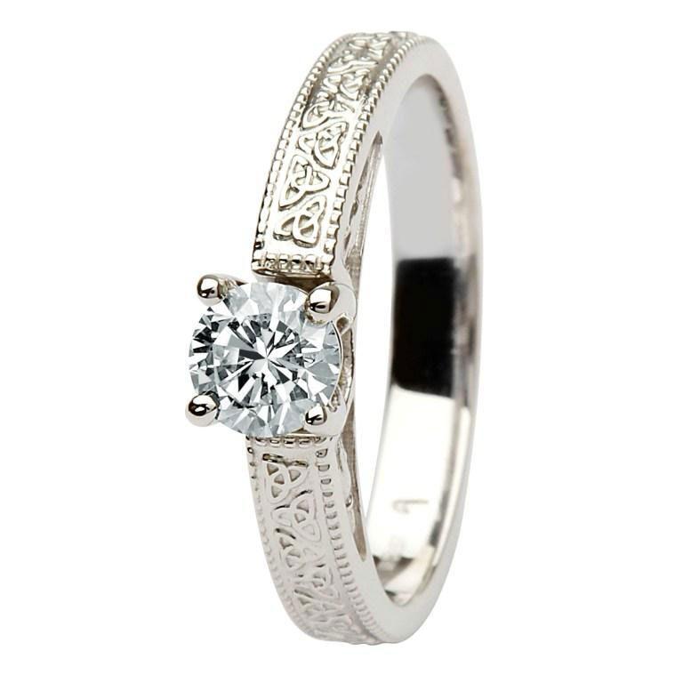 14k White Gold Diamond Trinity Knot Ring