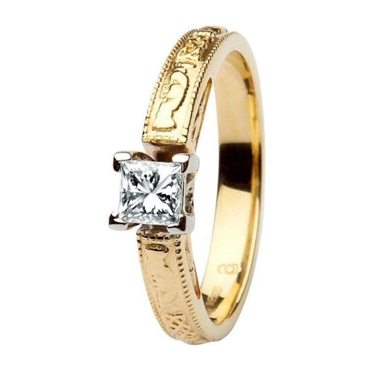14k Yellow Gold Princess Cut Diamond Claddagh Ring