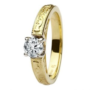 14k Yellow Gold Claddagh Round Cut Diamond Ring