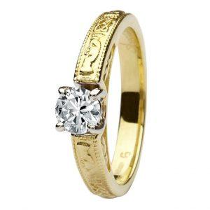 14k Yellow Gold Claddagh Round Cut Diamond Ring