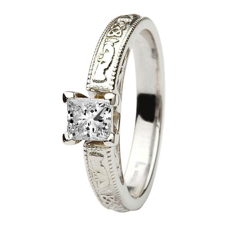 14k White Gold Princess Cut Diamond Claddagh Ring
