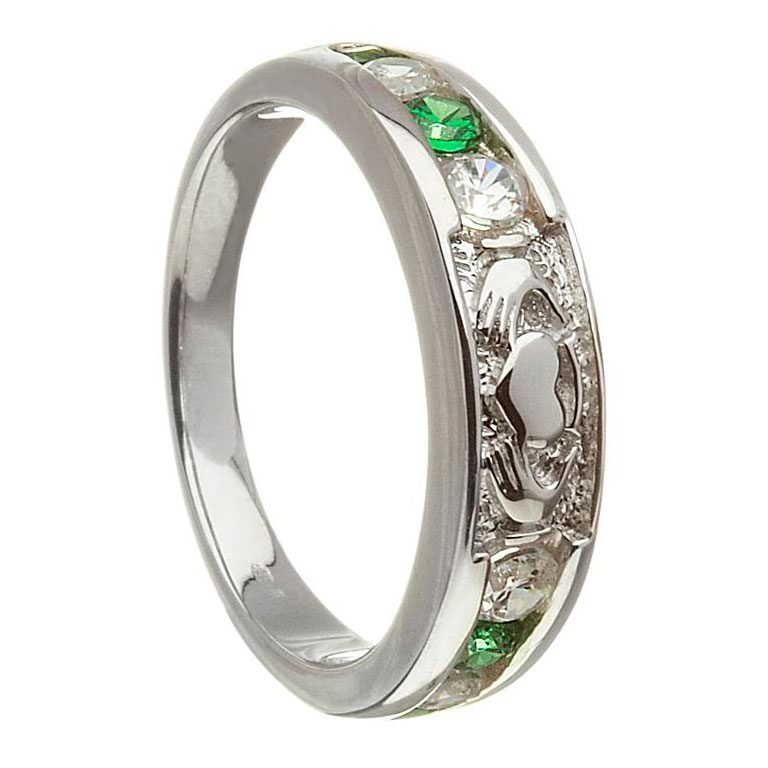 14k White Gold Emerald & Diamond Claddagh Ring