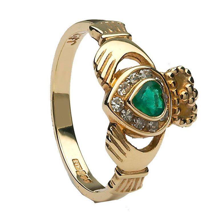 Yellow Gold Claddagh Diamond Set Emerald Heart Ring