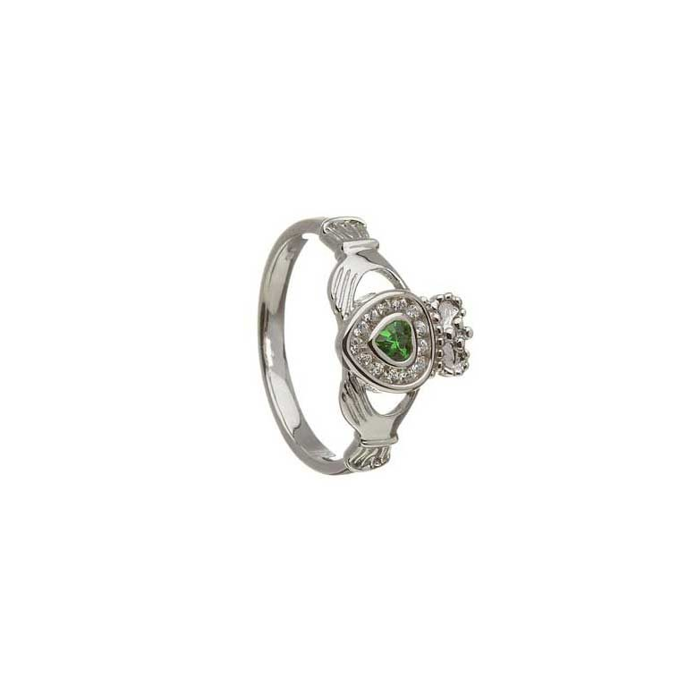 White Gold Claddagh Diamond Set Emerald Heart Ring
