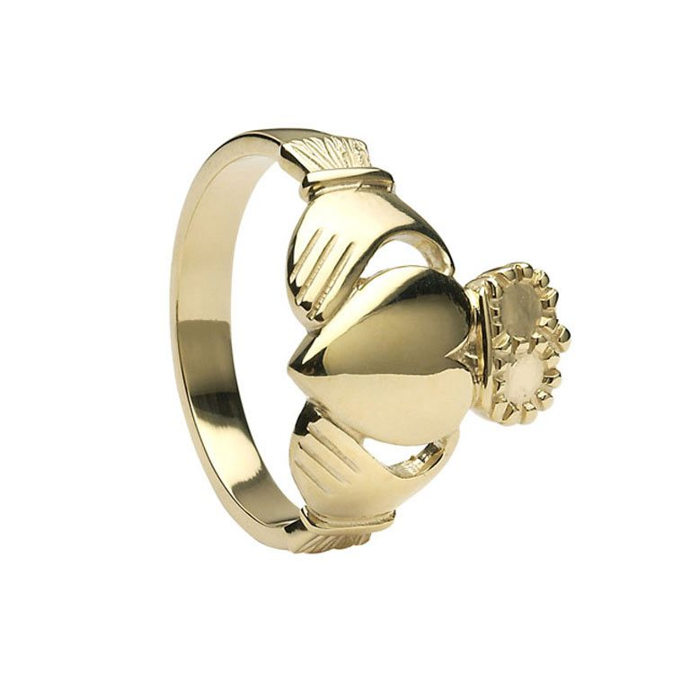 Gents Yellow Gold Claddagh Very Heavy Ring