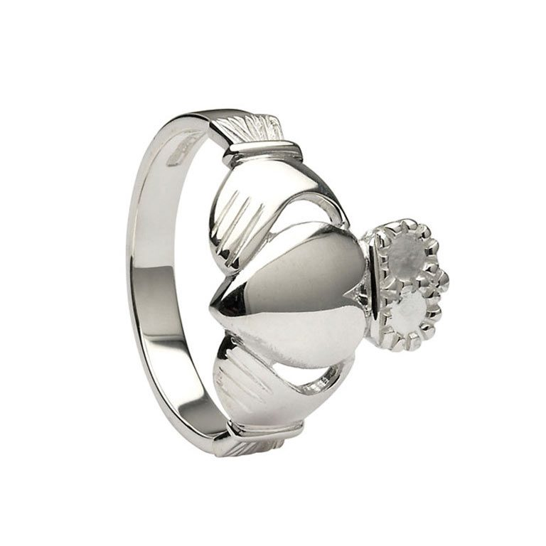 Gents White Gold Claddagh Very Heavy Ring