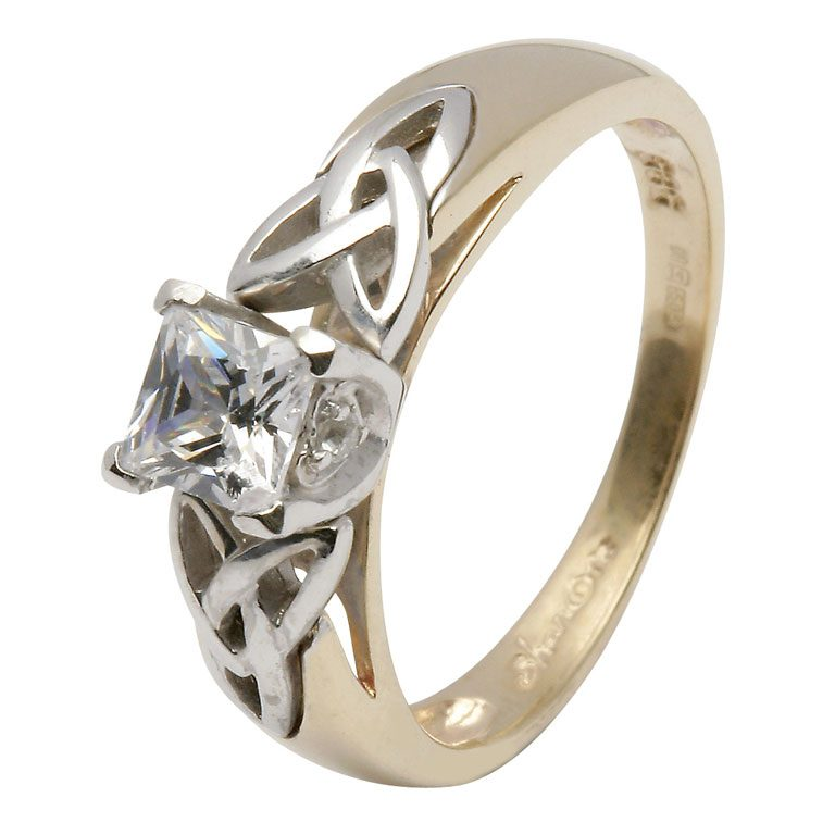 14kt Yellow Princess Cut Diamond Trinity Knot Ring