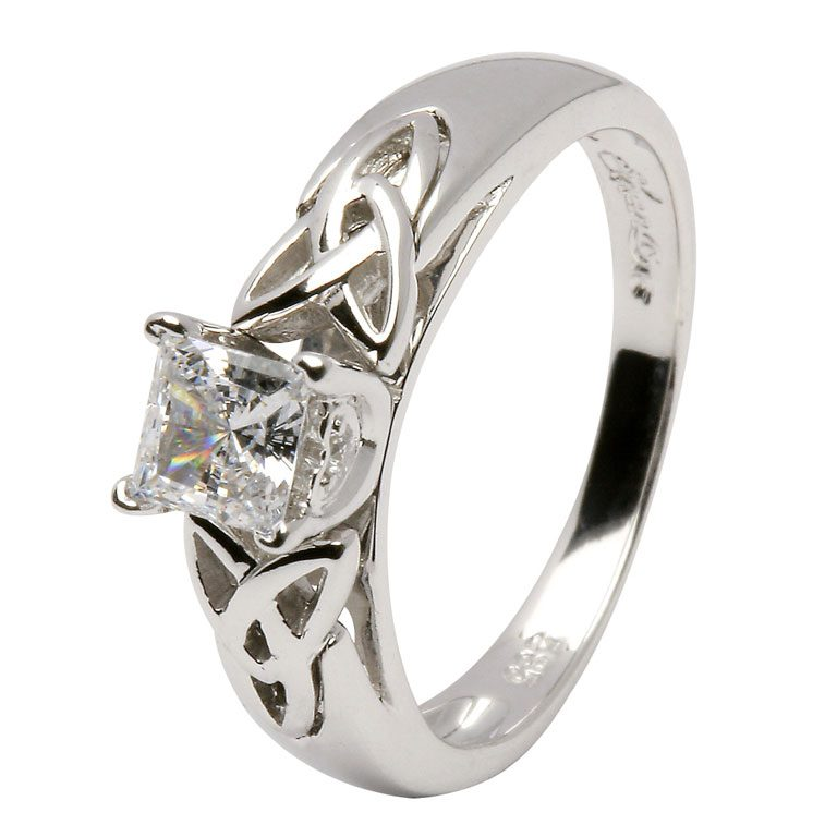 14kt White Princess Cut Diamond Trinity Knot Ring