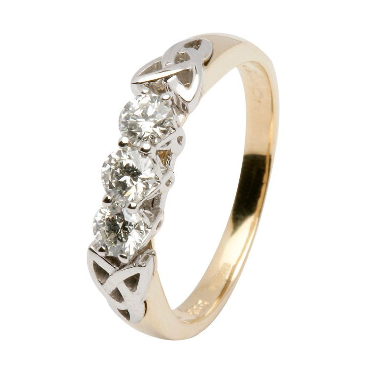 14kt Yellow 3 Stone Diamond Celtic Ring