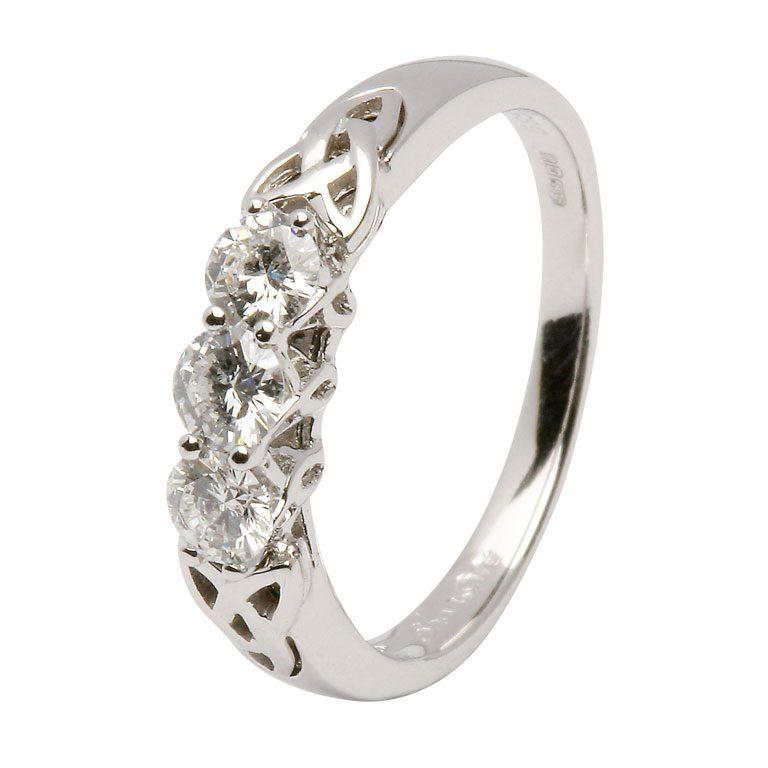 14kt White 3 Stone Diamond Celtic Ring