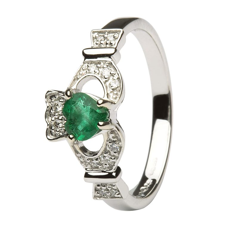 14k Yellow Gold Emerald and Diamond Claddagh Ring on Model