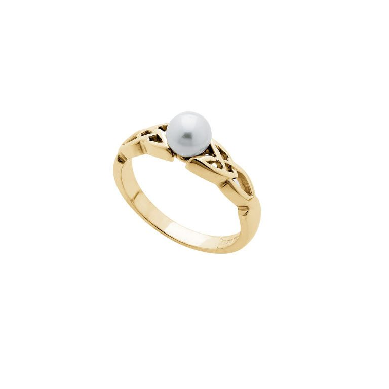 14k Yellow Gold Trinity Knot and Pearl Ring