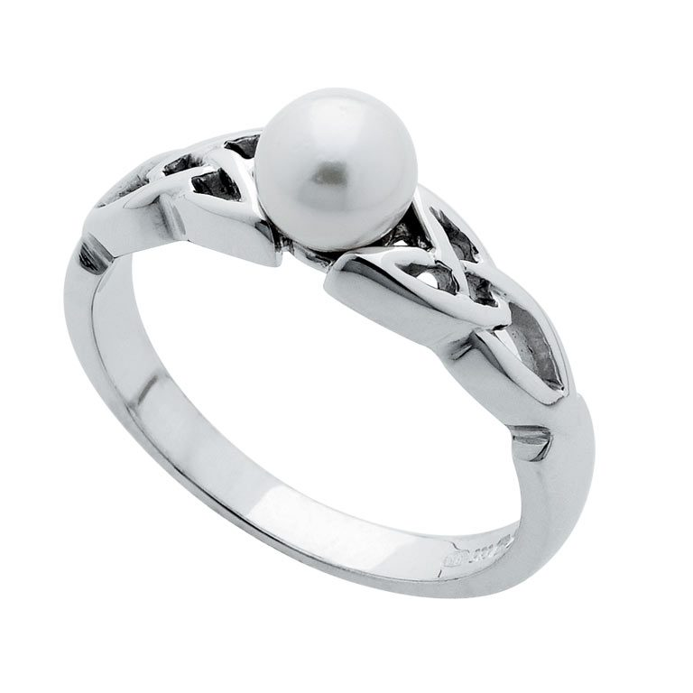 14k White Gold Trinity Knot and Pearl Ring