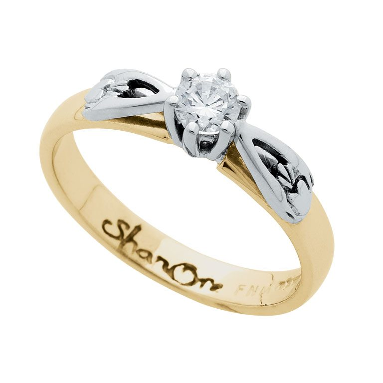 14 Karat Yellow Diamond Set Claddagh Ring
